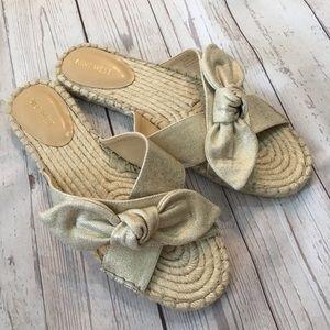 NINE WEST Brielle Metallic Espadrille Knot Sandals